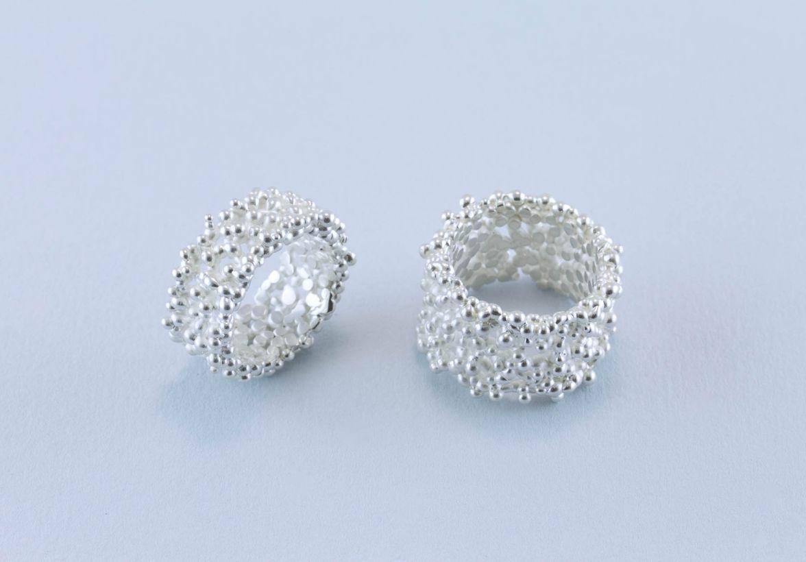 sita falkena koraal 2 zilveren ringen breed en smal