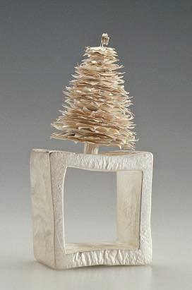 Sita Falkena/ asmat /vierkante zilveren ring met boompje