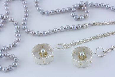 sita falkena bedel collier, zilver, goud, parels