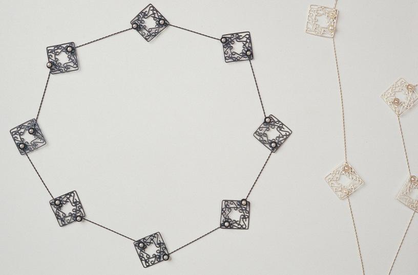 Sita Falkena collier met zilveren hekjes en parels ieder hekje is een slotje zwart en wit