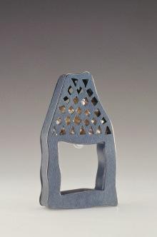 Sita Falkena -ring huisje zilver met holle ruimte met vierkante gaatjes gezaagd met parels erin