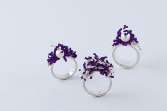 sita falkena 3 ringen zilver met parels geknoopt