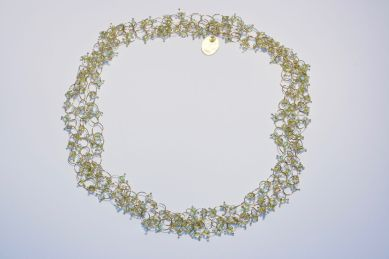 sita falkena ringetjes collier goud groene glaskraal