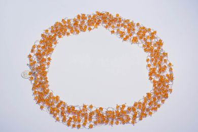 sita falkena collier zilveren ringetjes oranje glaskraal
